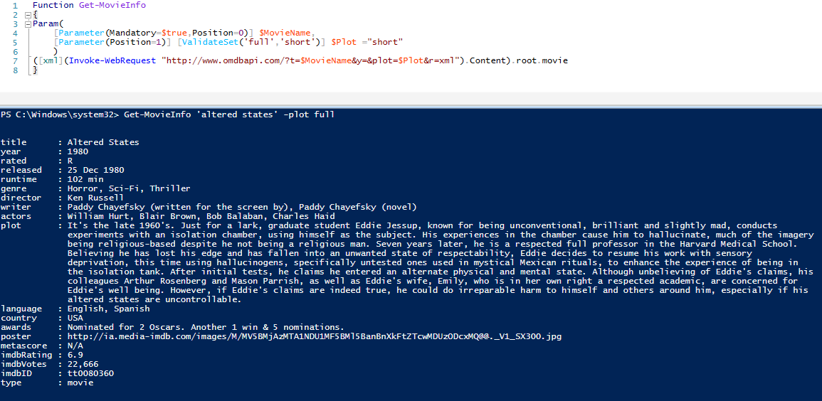 Get Movie Information from Powershell - Jose Espitia