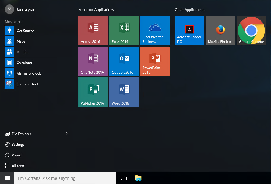 Windows 10 Start Layout