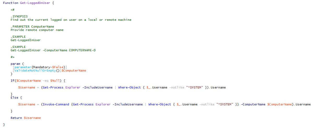 Get-CurrentLoggedOnUser Function